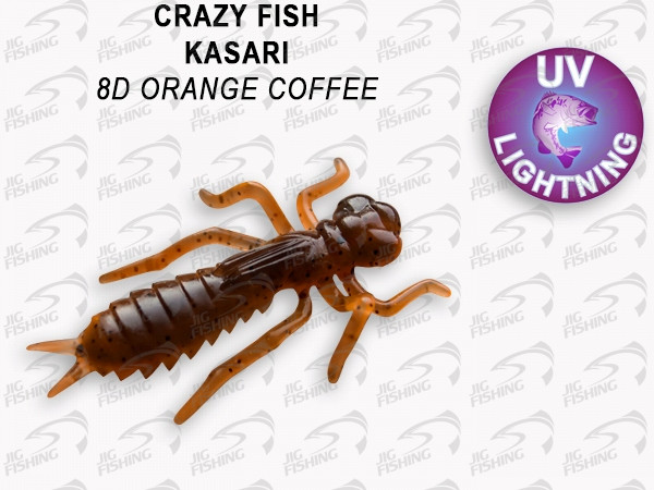"Мягкие приманки Crazy Fish Kasari Floating 1.6"" 8D Orange Coffee"