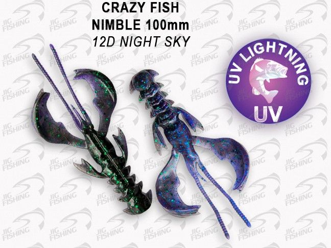 "Мягкие приманки Crazy Fish Nimble 4"" #12D Night Sky"