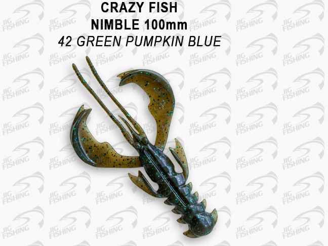 "Мягкие приманки Crazy Fish Nimble 4"" #42 Green Pumpkin Blue"