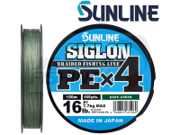 Шнур плетеный Sunline Siglon PE X4 Dark Green 150m #0.8 0.153mm 6kg