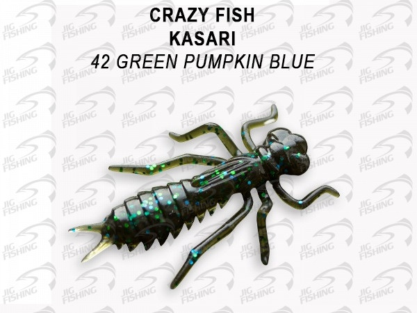 "Мягкие приманки Crazy Fish Kasari Floating 1.6"" 42 Green Pumpkin Blue"
