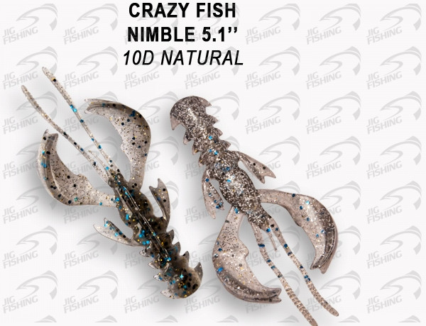 "Мягкие приманки Crazy Fish  Nimble 5"" #10D Natural"